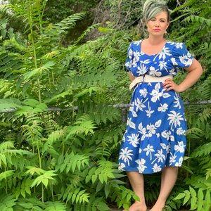 Vintage Blue and White Hawaiian Maxi Dress Pinup